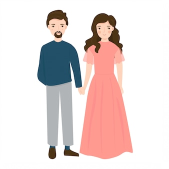 イラストの若いカップルの結婚式