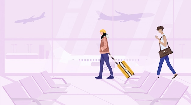 Illustration of young couple walking with suitcase in terminal.