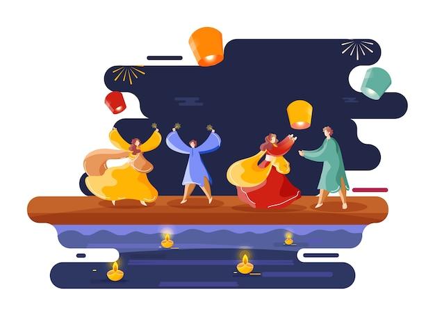 Illustration of young couples enjoying or celebrating