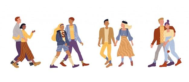 Иллюстрация молодые пары гуляют в парке