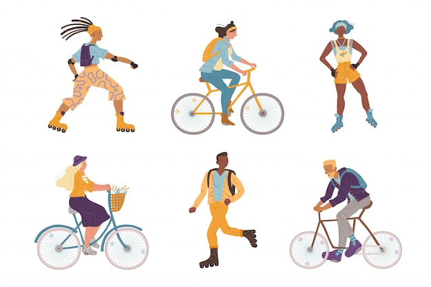 Illustration young cyclists, roller skaters