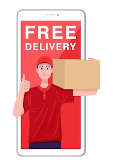Illustration of young delivery man holding a parcel and coming out of smartphone.