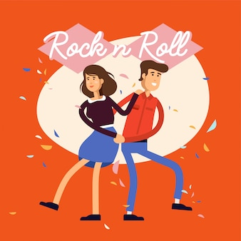 Illustration of young female and male characters in dance rock n roll class .