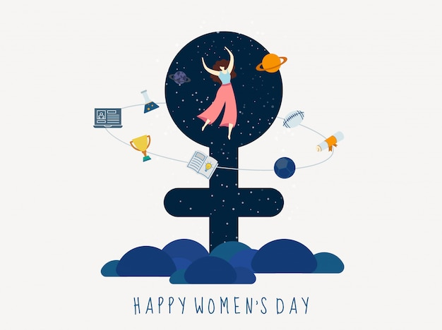 Illustration of young girl jumping with education and game elements on outer space venus sign for happy women's day celebration concept.
