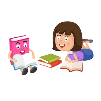 Illustration of a young girl reading a book Premium Vector