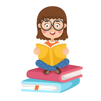 Illustration of a young girl reading a book