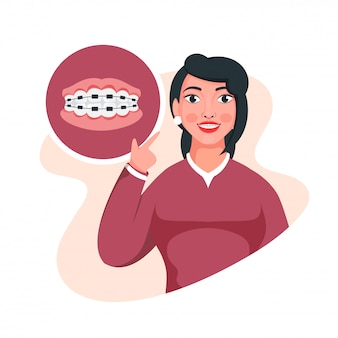 Illustration of young girl showing her braces at teeth on white background.