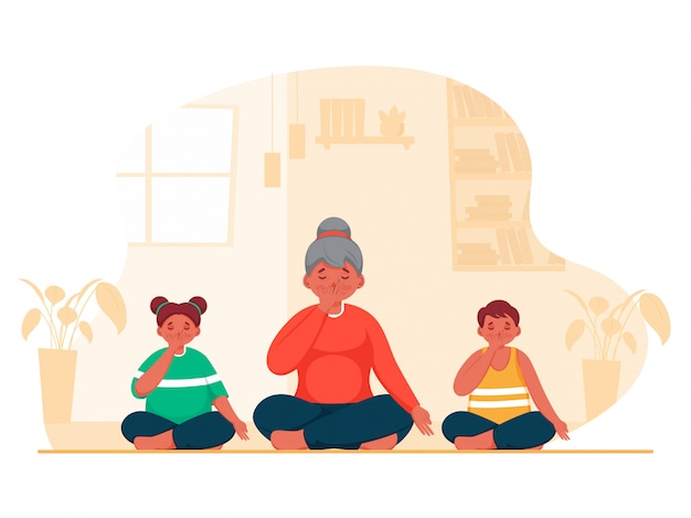 Illustration of young girl with kids doing yoga alternate nostril breathing in sitting pose at home.
