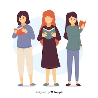 Illustration of young girls reading their books