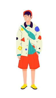 Illustration of a young man in a bright avant-garde shirt. stylish hipster in orange shorts.