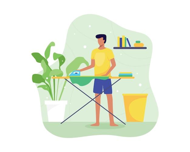 Иллюстрация молодой человек гладит одежду