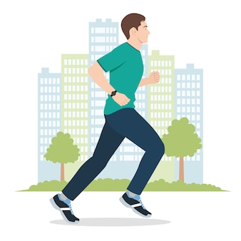 Illustration of a young man running