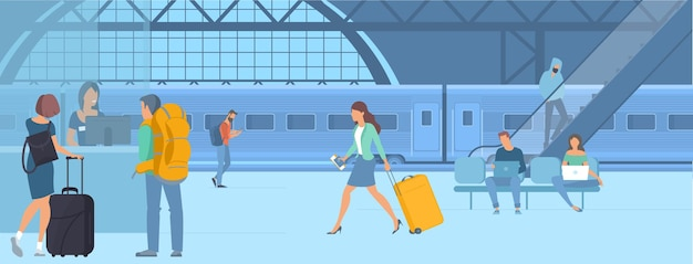 Illustration of young men and women travellers at railway train station  waiting for departure