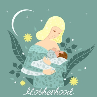 Illustration of a young mother breastfeeding her baby.