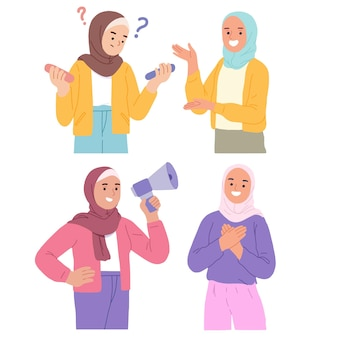 Illustration of young muslim women wearing hijab in various styles
