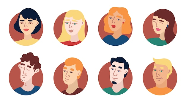 Illustration young people avatar icon set