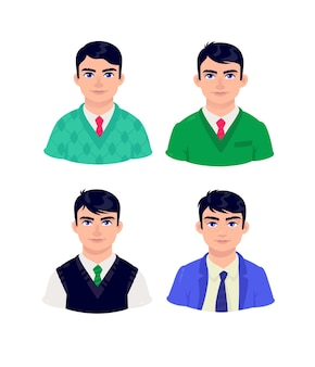 Illustration of young people. cartoon businessman of mature age.