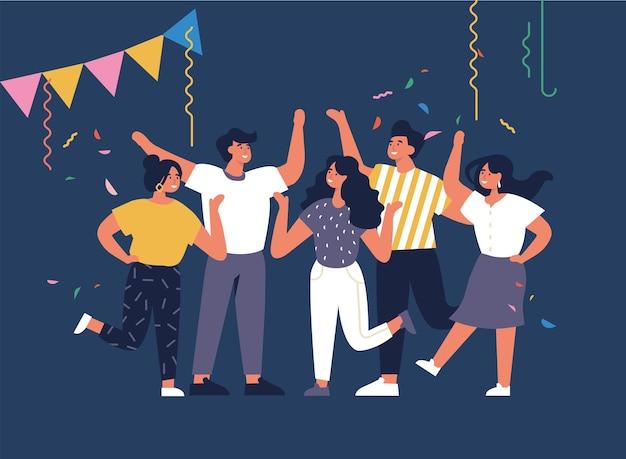 素晴らしい時間を過ごしているイラスト若者。肯定的な感情の概念。楽しんで祝っているキャラクターのグループ。ナイトパーティー。