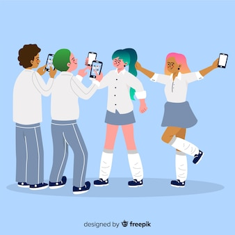 Illustration of young people holding smartphones