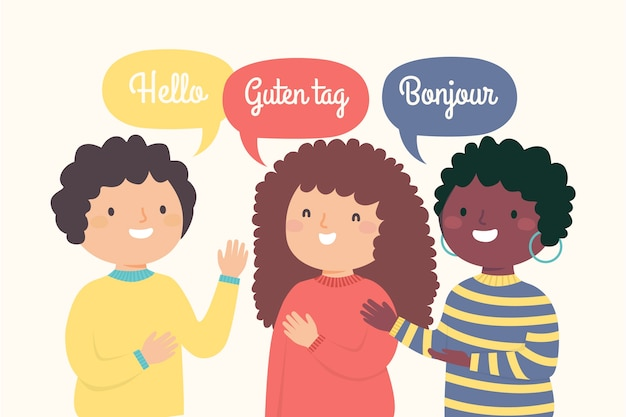 Illustration of young people saying hello in different languages