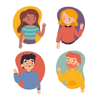 Illustration of young people waving hand collection