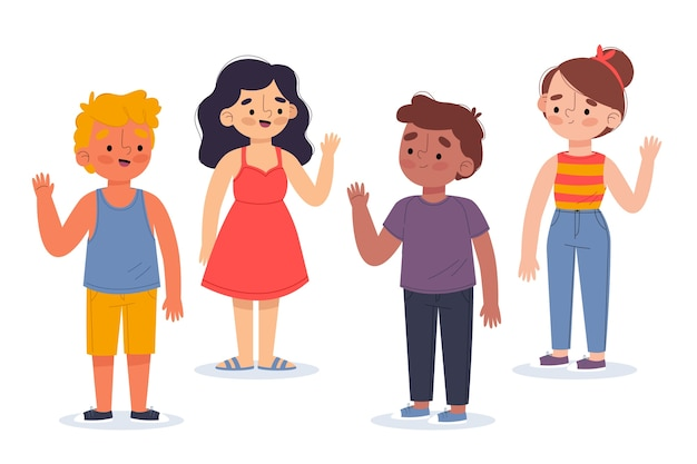 Illustration of young people waving hand pack