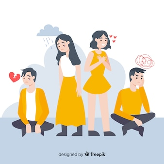 Illustration of young people with different emotions
