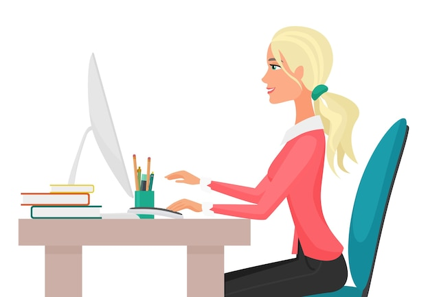 Illustration of a young pretty sexy woman working on desktop computer