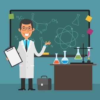 삽화, 젊은 과학자가 칠판을 가리키고 웃고, eps 10 형식