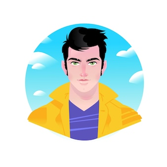 Illustration of a young stylish man