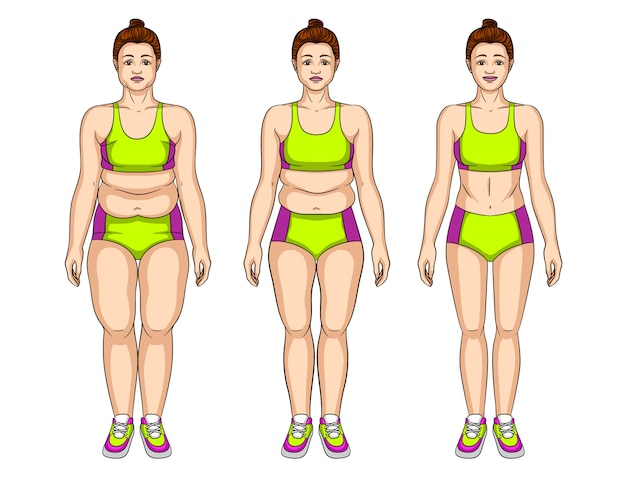 Illustration of young woman before and after slimming