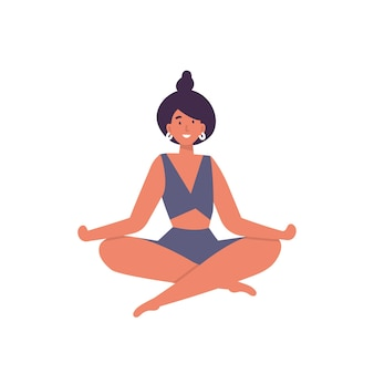 Illustration of young woman doing yoga exercising.