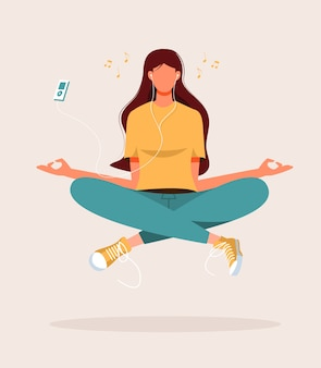 Illustration of young woman doing yoga, meditation, relax, recreation, healthy lifestyle