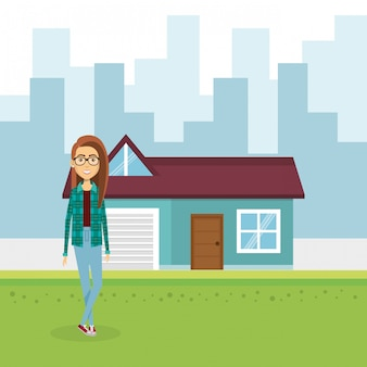Illustration of young woman outside house