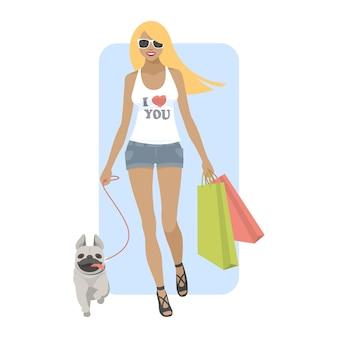 イラスト、犬のパグを持って歩く若い女性、フォーマットeps 10