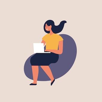 그림 젊은 여성의 자에 앉아 집 또는 현대 coworking 공간에서 랩톱에서 작업. 남성 프리랜서.