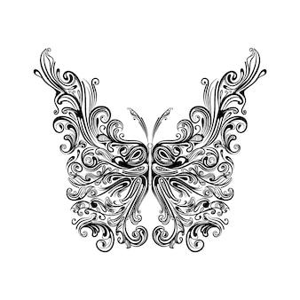 The illustration of the zentangle butterfly with the big wing for the tattoo inspiration