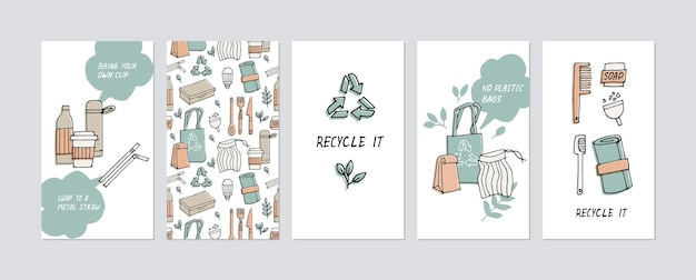 Illustration zero waste, recycle, eco friendly tools, collection of ecology icons with slogans.