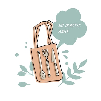 Illustration zero waste, recycle, no plastic bags. environment protection quote.