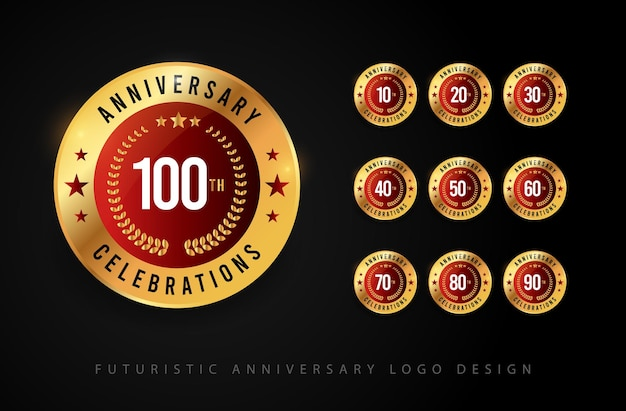 Illustrations of anniversary celebrations logo design template