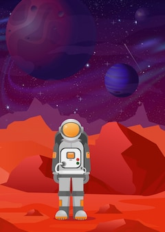 Illustrations of astronaut on mars. red mountains landscape on dark space with planets background. astronomy, space exploration, colonization, flat style.