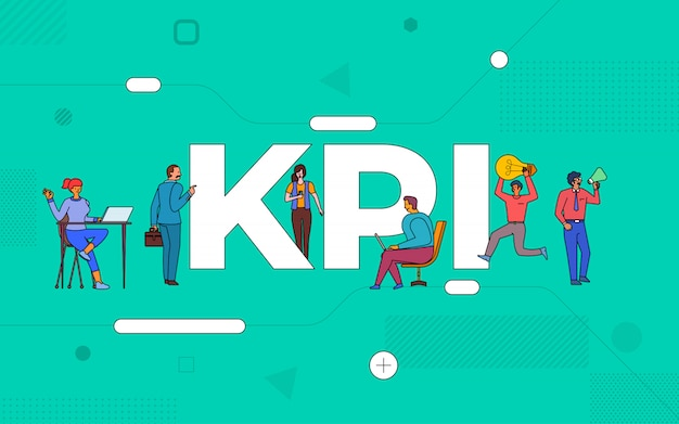 Illustrations business teamwork create business key performance indicator working together. buildind text concept kpi. illustrate.