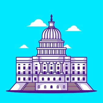 Illustrations of capitol hill. world tourism day, building and landmark concept
