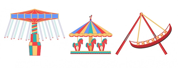 Illustrations of carousels isolated