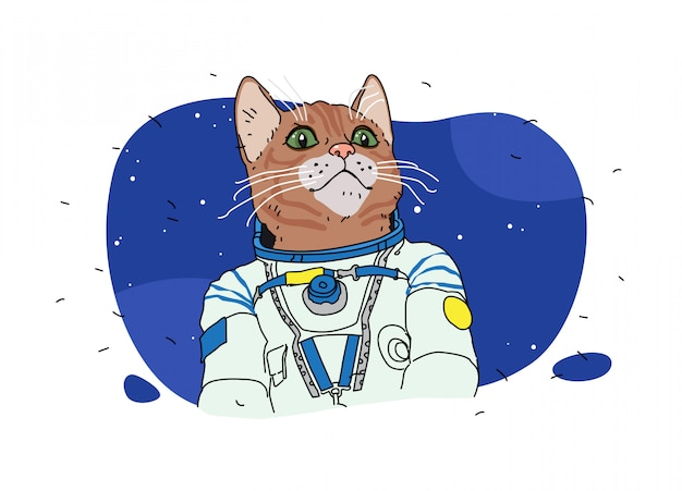 Illustrations of a cat astronaut. pussy in space. cartoon animal.