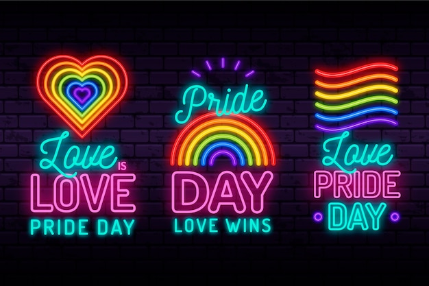 Illustrations collection pride day neon signs