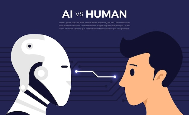 Illustrations concept of ai artificial intelligence vs human via robot and people