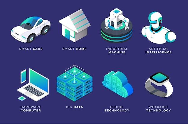 일러스트레이션 개념 인공 지능 ai 세트 개체 3d 장치 및 장비 기술