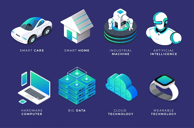 Illustrations concept  artificial intelligence ai set object 3d device and equipment technology