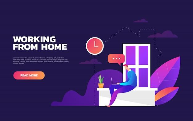Иллюстрации концепции коронавируса covid-19. компания позволяет сотрудникам работать из дома, чтобы избежать вирусов. иллюстрировать.